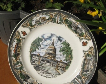 Old plate The Capitol Washington DC plate ornament vintage decoration gift gift plate made in Japan America plate
