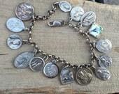 Vintage Religious Medal Charm Bracelet