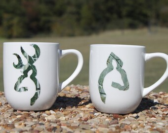 Set of His Doe Her Buck matching coffee mugs- white, 12oz