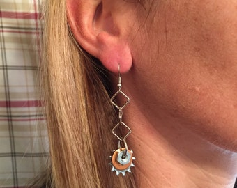 Long dangly Locking Washer, Copper Washer, Hex Nut Earrings