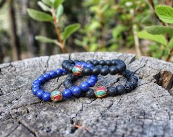 Tibetan Style Bracelet-Coral, Turquoise, Onyx, Lapis, Lava Stone