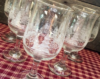 Vintage tree wine glasses | Etsy