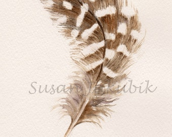 Feather Watercolor, Guinea Feather Painting, Original Feather Painting