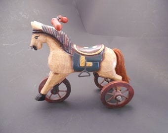 Wooden Horse on Three Wheels Tricycle Hand Carved & Painted Figurine