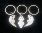Silver Best Friends Triple Keychain Set