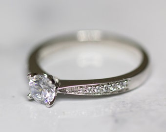 Size M Sterling Silver & Cubic Zirconia Engagement Ring Simple Engagement Ring, Solitaire Engagement, Thin Band Ring, CZ