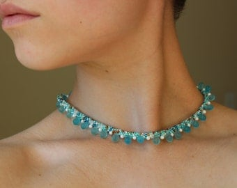 Bright Teal & Copper Kumihimo Necklace