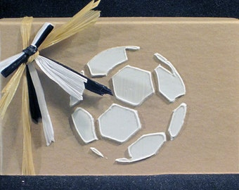 Gift Card Holder:  Birthday Christmas Card Box Soccer Ball Art Gift For Sports Fan Athletes By AngeOriginals