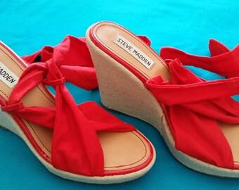 Steve Madden Red Platform Espadrille Gladiator Sandal Size 7.5