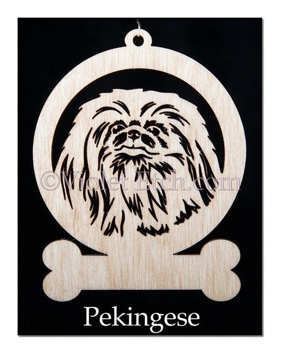 Pekingese Ornament-Pekingese Gift-Wood Pekingese Ornament-Free Personalization