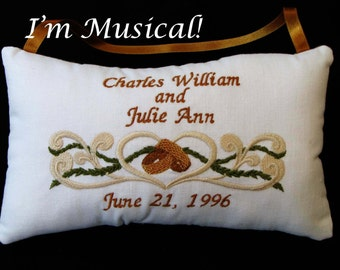 Curls & Rings Wedding Music Box -- Personalized Embroidered MUSICAL Keepsake
