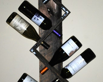 Reclaimed Wood Wall Wine Rack - 8 bottles