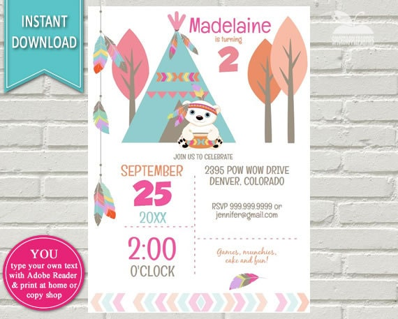 Modern Tribal Birthday Invitation Tribal Invitation Boho - Birthday invitation images download