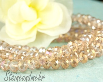 20 x 8 x 6 champagne faceted glass beads type. 2254