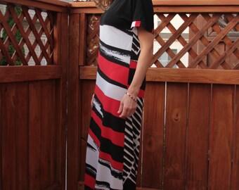 Kimono Dress / Black & Red and White Dress / Maxi Dress