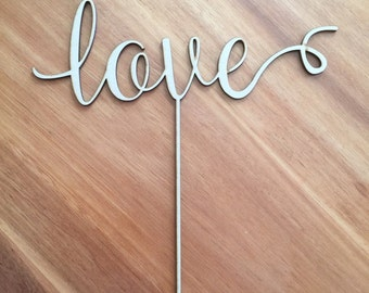 Modern Laser Cut Wood Cake Topper Love