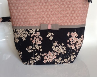 Toilet bag, cherry blossom, Japanese fabric