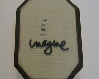 Live the Life You Imagine Upcycled Thrift-Store Wall Hanging
