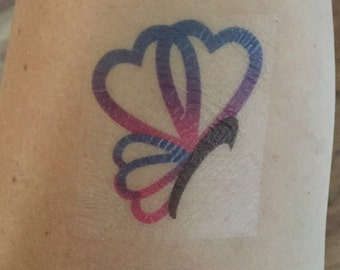 Bisexual Butterfly Temporary Tattoo