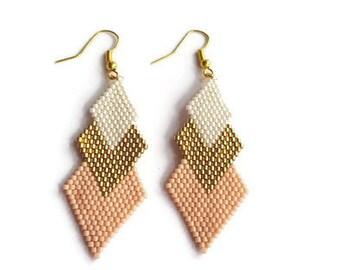 Earrings - Gold, Creme and Pink Earrings - Beaded Earrings