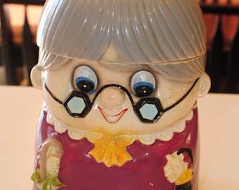 Cookie Jar by Ries Japan/Little Old Granny/Kitschy Cookie Jar/ Retro Kitchen Decor/Vintage Cookie Jar/Collectible Gift/Grandma Cookie Jar