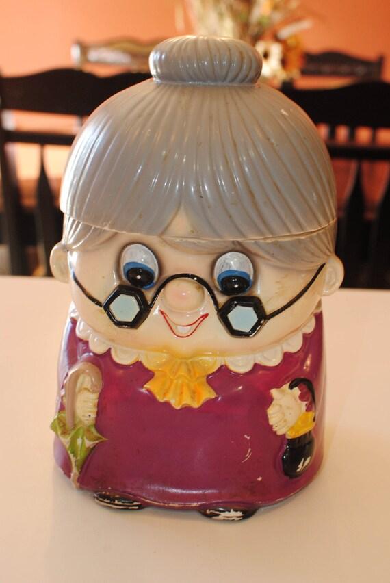 Cookie Jar By Ries Japan Little Old Granny Kitschy Cookie Jar