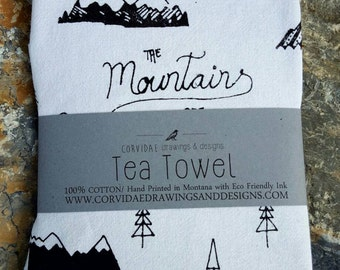 Mountains are calling tea towel