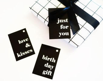Black, white, modern, typography, minimalist, set of gift tags, set of 6 tags