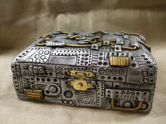 Steampunk clay covered wooden trinket box. Hand made