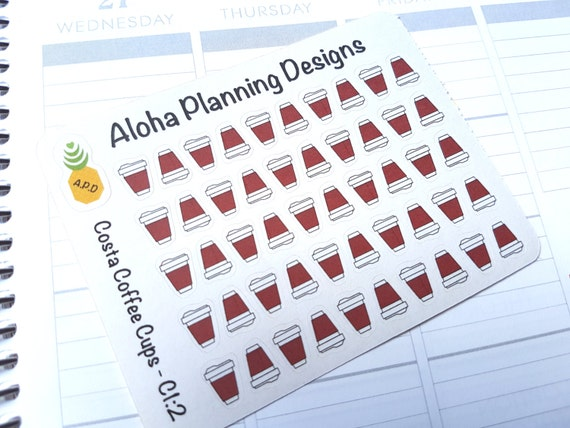 c1 2 costa coffee cup stickers small from alohaplanningdesigns on etsy studio. Black Bedroom Furniture Sets. Home Design Ideas