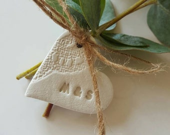 Little Personalized Clay Heart ~ Lace Hearts