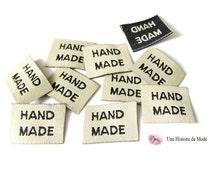 Lot of 10 labels sewing registered 'HAND MADE' 20 x 15 mm