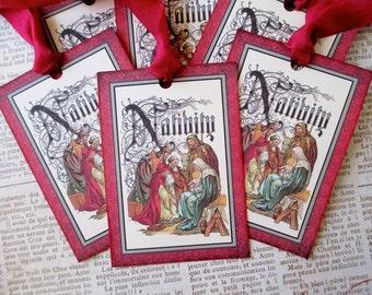 Christmas, Christmas Tags, Tags, Vintage Christmas, Vintage Tags, Gift Tags, Jesus Birth, Religious Christmas, Nativity