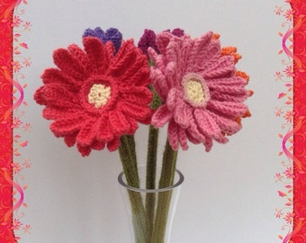 Hand knitted Gerbera Daisy, Gerber Daisy, Floral Display, Knitted Flower. Deep Coral