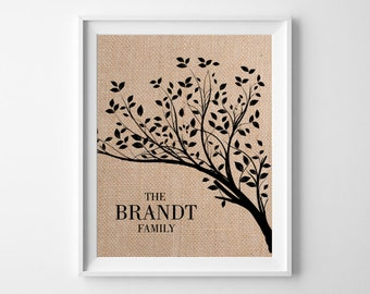 Family Tree | Last Name Print | Burlap Wall Decor | Anniversary Gift for Husband Wife | Wedding Gift for Couple | Rustic Wedding