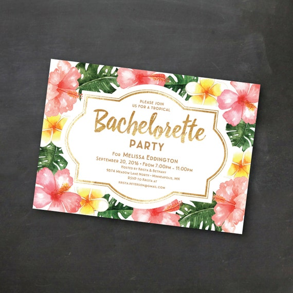 Tropical Printable Bachelorette Invitation Template Luau Party