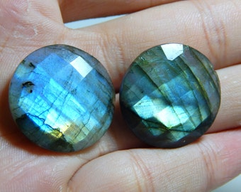 55 Percent OFF Labradorite gemstone Faceted Coin Beads - 1.Pcs - Size 25.mm Approx Code - 0124