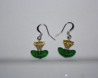 Glass Tulip Earrings