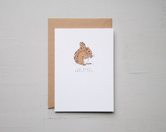 I'm Nuts About You - Squirrel Card - Anniversary Card - Funny Card - Birthday Card - Love Card - Note Card - Animal Card