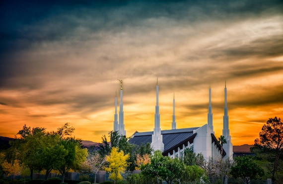 Las Vegas Nevada Lds Temple Sunset With Fall By