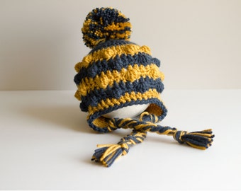 Georgia Tech Football Hat, Earflap Hat, Pompom Hat, Baby Hat, Newborn Hat, Infant Hat, Crochet Hat, New Baby Gift, Photo Prop, Ready to Ship