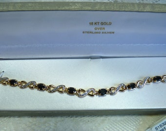 18K GOLD OVER Sterling Silver ~ Sapphire and Diamond Accent Bracelet ~ Vintage