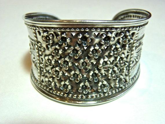 BRACELET CUFF ~ Sterling Silver ~ Repousse Floral Motif ~ Vintage 1970s ~ Excellent Condition ~ Statement Cuff Bracelet