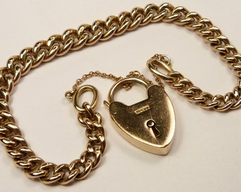 Solid Heavy Vintage English 9ct GOLD CHARM BRACELET Chain & Heart Locket 17.4g