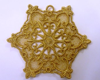 Gold Lace Snowflake Christmas Ornament Christmas Shop Holiday decoration Gift