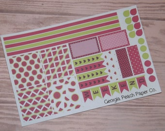 Watermelon Themed Planner Stickers- Made to fit Horizontal Layout