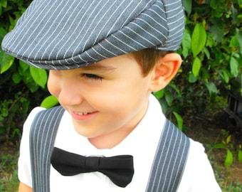 Baby Boys Driving Cap. Toddler Flat Cap. Vintage Hat. Grey Pinstripe. Golf Cap. Boys Flat Cap. Beret