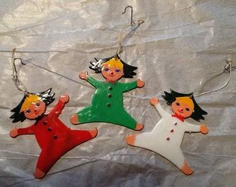 Vintage, set of three hard plastic Christmas elves, Hong Kong,