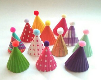 Mini party hats cupcake toppers - multi colored toppers - birthday party cupcake toppers - rainbow mini party hats - 12 cupcake toppers