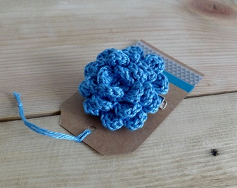 Blue flower brooch. Crochet flower pin.